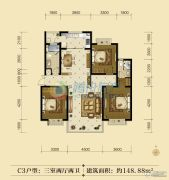 联邦御景江山3室2厅2卫148平方米户型图