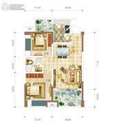 华联城2室2厅1卫78平方米户型图