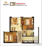 鸿通・春天江与城2室2厅1卫49平方米户型图