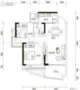 湘港2室2厅1卫86平方米户型图