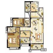 雅居乐御龙山3室2厅2卫114平方米户型图