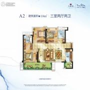 九龙仓时代上城3室2厅2卫114平方米户型图