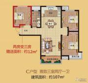 盛邦大都会3室2厅1卫107平方米户型图