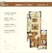 苏州绿城春江明月3室2厅2卫117平方米户型图