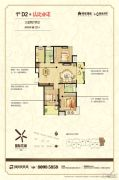 绿地商务城3室2厅2卫127平方米户型图