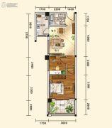五堰・新天地2室2厅1卫60平方米户型图