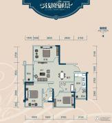 云星・钱隆御景3室2厅2卫86平方米户型图