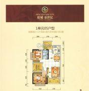 联城新世纪2室2厅1卫86平方米户型图