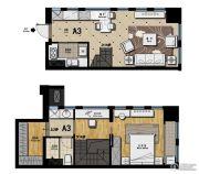 帝景现代城1室2厅1卫47平方米户型图