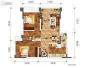 合能璞丽2室2厅1卫64平方米户型图