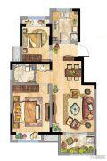 安贝尔花园2室2厅1卫75平方米户型图