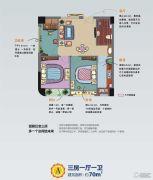 BINGO缤购3室1厅1卫70平方米户型图