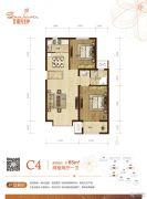 和泓阳光北岸2室2厅1卫85平方米户型图