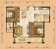 中南一号院2室2厅1卫84平方米户型图