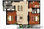 丁豪广场3室2厅2卫120平方米户型图