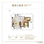 鲁能山海天2室2厅1卫67平方米户型图
