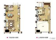 西海岸广场1室2厅1卫55平方米户型图