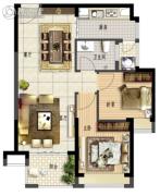 鑫月广场・欢乐海湾2室2厅1卫72平方米户型图