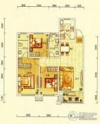 华润幸福里3室2厅2卫126平方米户型图