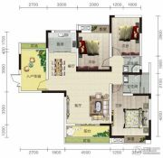 宏信依山郡3期3室2厅2卫126平方米户型图