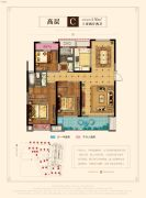 慈溪新城吾悦广场3室2厅2卫130平方米户型图
