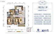 美的・梧桐庄园3室2厅2卫106平方米户型图