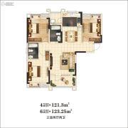 万景・三号院3室2厅2卫121平方米户型图