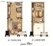 西海岸广场1室2厅1卫45平方米户型图