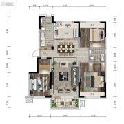 信达万科城3室2厅1卫115平方米户型图