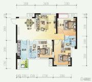 时代悦城3室2厅2卫91平方米户型图