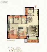 中庚・香�R融江3室2厅2卫89平方米户型图