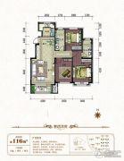 中铁城3室2厅2卫116平方米户型图