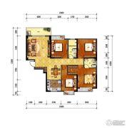 旺城天悦4室2厅2卫133平方米户型图