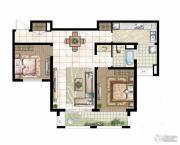 银洲皇家学苑2室2厅1卫111平方米户型图