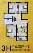 安泰颖水华庭3室2厅1卫124平方米户型图