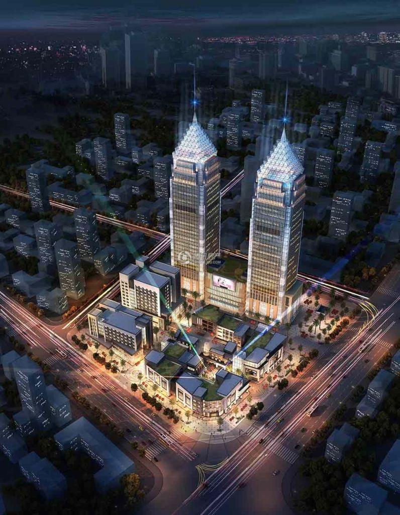 桂林金茂中心夜景鸟瞰图