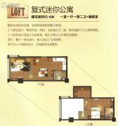克拉公馆2室1厅2卫60平方米户型图