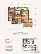 兆信中心3室2厅2卫94平方米户型图