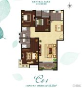 骏景中央公园3室2厅2卫146平方米户型图