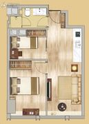 中鼎名汇2室1厅1卫62平方米户型图