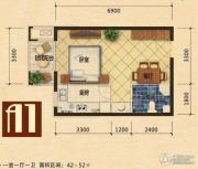 世嘉光织谷1室1厅1卫42平方米户型图