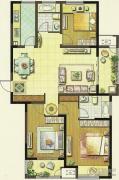 聚湖雅苑3室2厅2卫129平方米户型图