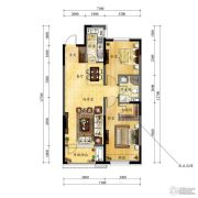 中海国际社区2室2厅1卫95平方米户型图