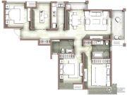 富力尚悦居4室2厅2卫131平方米户型图