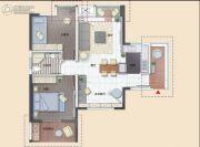 清能清江锦城三期珂园2室2厅1卫89平方米户型图