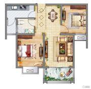 紫御府2室2厅1卫86平方米户型图