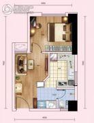红枫金座1室1厅1卫44平方米户型图