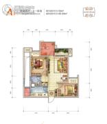 龙湖拉特芳斯2室2厅1卫53平方米户型图