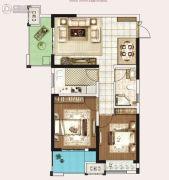 永威城2室2厅1卫79平方米户型图