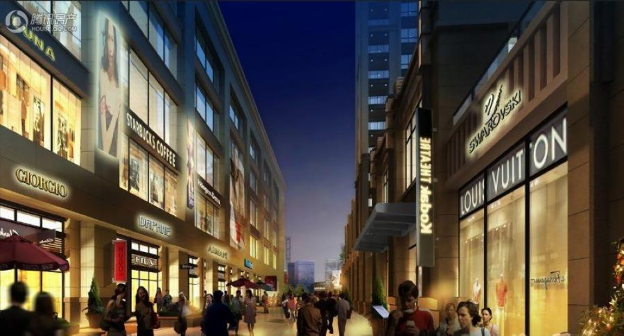 唐安银座商业步行街夜景透视图